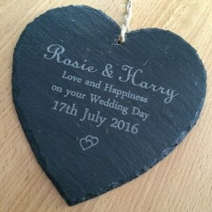 Wedding Date & Name Hanging Heart Slate Sign