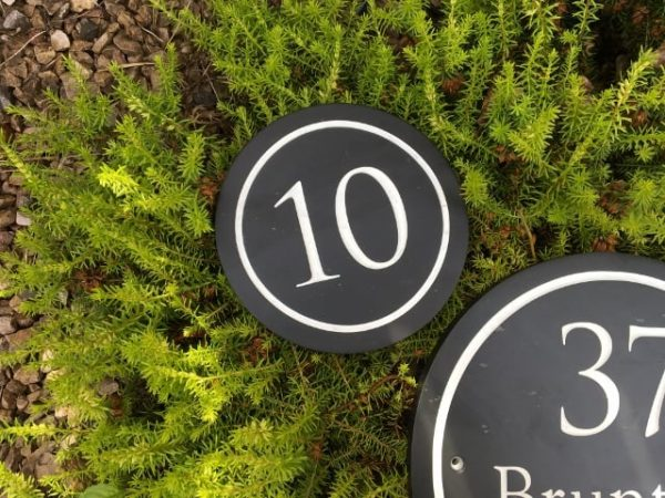 Deep Engraved Round Slate House Number 150mm