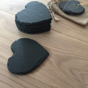 Handcut Slate Heart Coasters