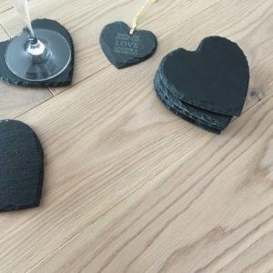 Handcut Slate Heart Coasters